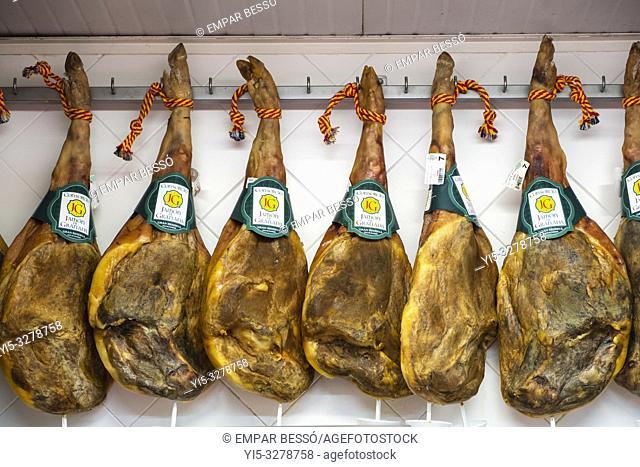 Ham for sale in market. Valencia. Spain. 2018
