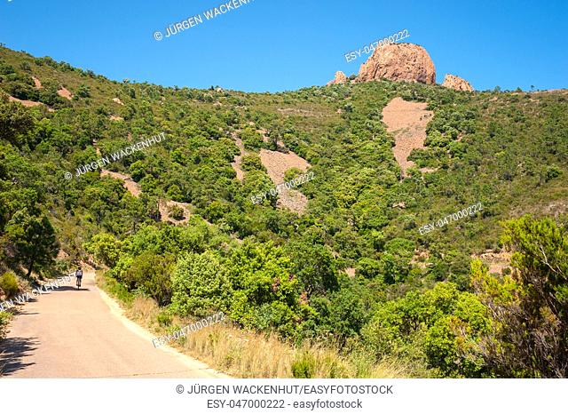 Hiking trail to the Pic du Cap Roux in the Massif de l'Esterel, Antheor, Var, Provence-Alpes-Cote d`Azur, France, Europe