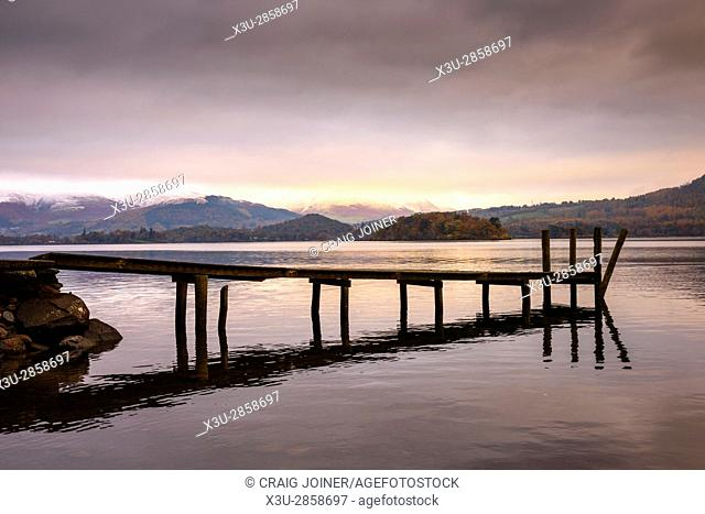 Jetty at Victoria Bay on Derwent Water in the Lake District National Park, Cumbria, England