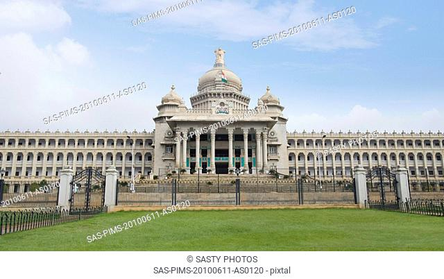 Facade of a government building, Vidhana Soudha, Bangalore, Karnataka, India