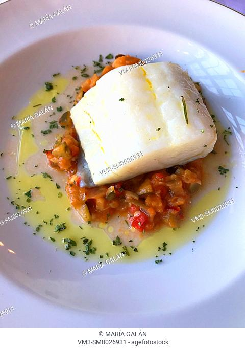 Codfish loin with vegeables. Spain