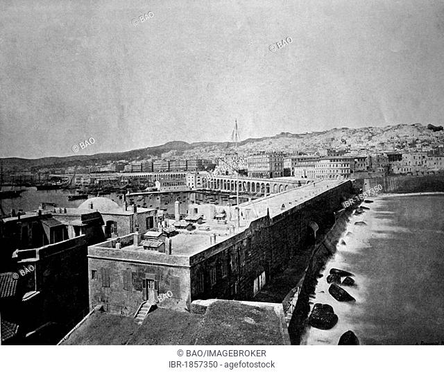 Early autotype of Algiers, Algeria, historical photograph, 1884