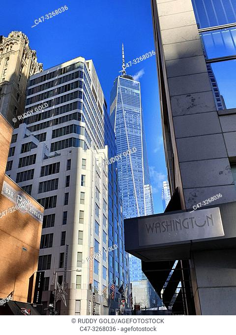 One World Trade Center tower, taken from Washington Street. Financial District. New York. NY. USA