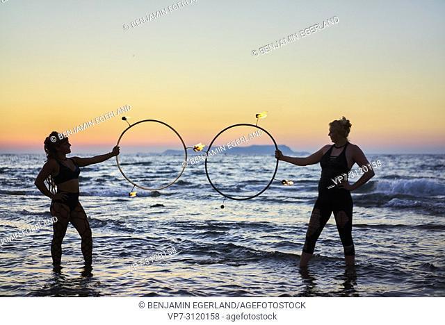 fire show , beach, in holiday destination Chersonissos, Crete, Greece