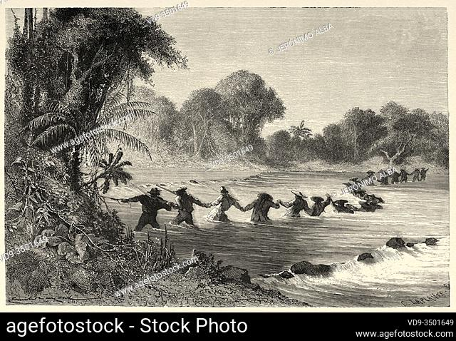 Expeditionary travelers crossing the Ccoñi river, Peru. South America. Trip to the Valley of the Quinas by Paul Marcoy. Old engraving El Mundo en la Mano 1878