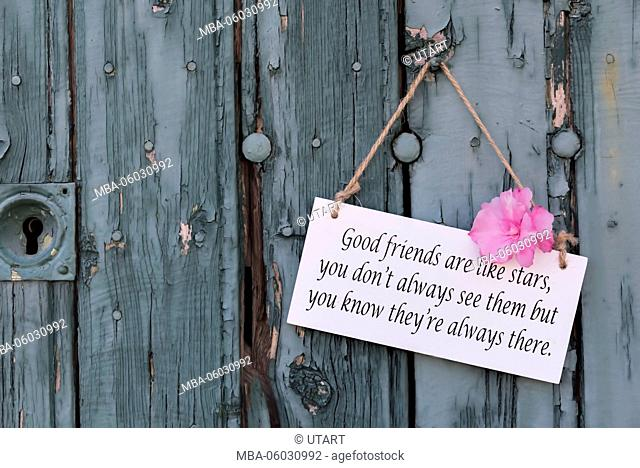 Sign with English saying 'Good friends are like stars, you don't always see them but you white they're always there' on old turquoise wooden board with oleander...