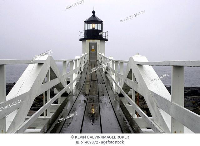 Marshall Point lighthouse, rain, fog, Port Clyde, Maine, New England, USA