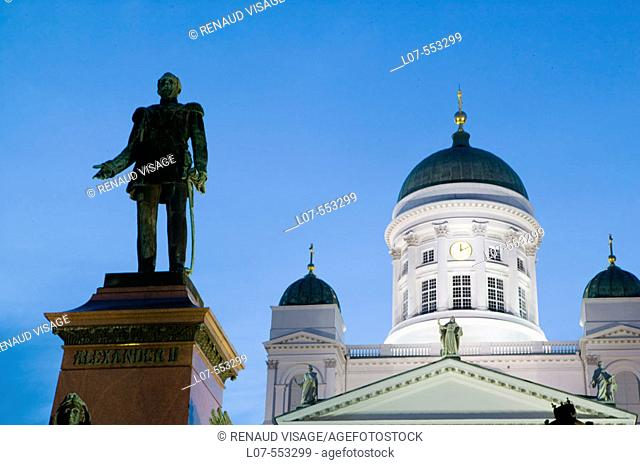 Cathedral and statue of Alexander II on Senate Square in old town at night. Helsinki. Finland