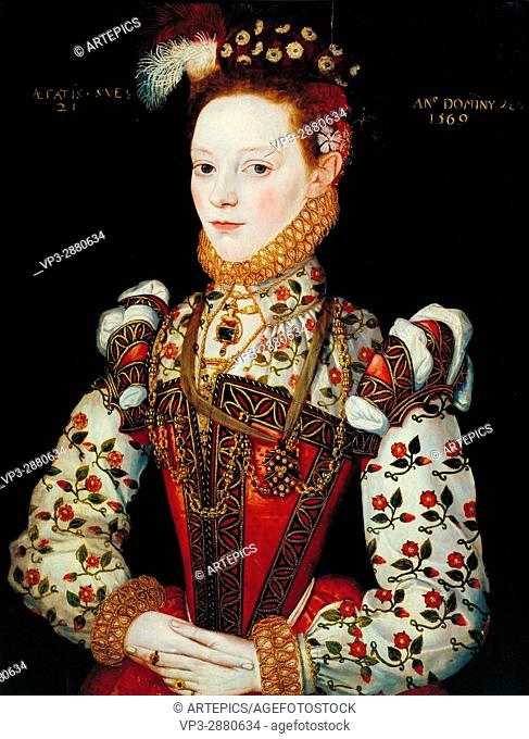 British School 16th century - A Young Lady Aged 21, Possibly Helena Snakenborg