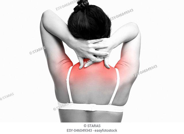 Young caucasian woman in bra with pain in shoulders and neck, ache in the human body, isolated on white background
