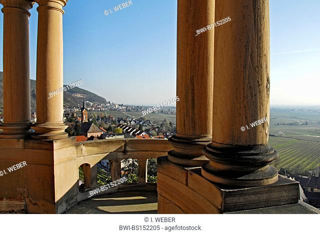 view from Haardt castle over Haardt, Germany, Rhineland-Palatinate, German Wine Route
