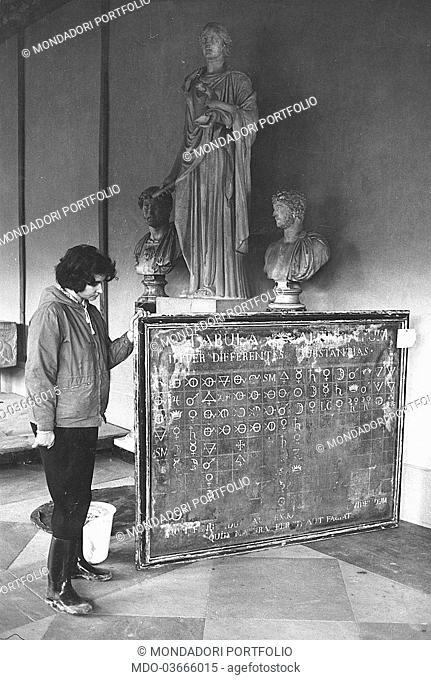One of the first chemical elements table from the Medici's pharmacy damaged by the flood and now housed by the Museum of Science