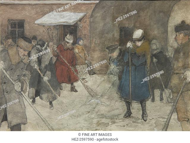 Snow removal, ca 1921. Found in the collection of the State Tretyakov Gallery, Moscow