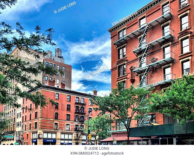 Looking Up at Upper West Side, New York City, Tenement Buildings on a Sunny Day