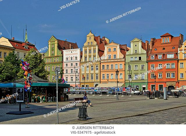 buildings at salt market square,Market Square or Ryneck of Wroclaw, Lower Silesia, Poland, Europe - Wroclaw, Poland, 26/06/2015