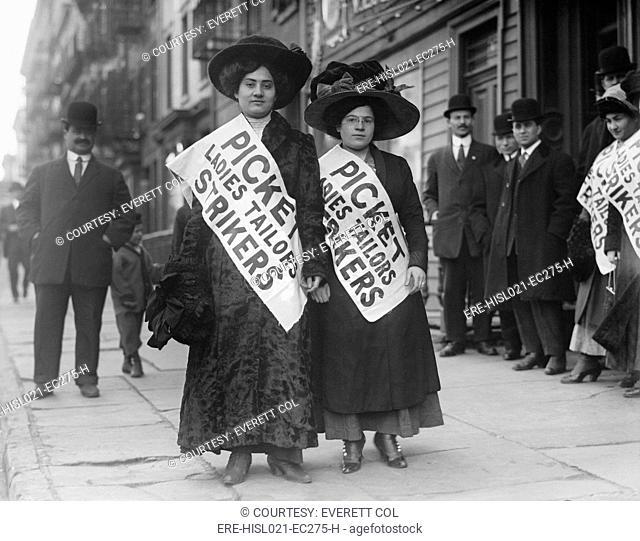 Women strike pickets from Ladies Tailors, during the New York shirtwaist strike of 1909, involving 20,000 mostly Jewish women working in shirtwaist sweatshops
