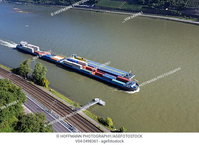 River barge on the Rhine river, Rhineland-Palatinate, Germany, Europe