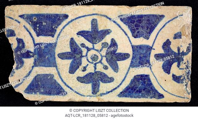 Border tile, blue, decoration with circles and flowers, edge tile wall tile tile sculpture ceramic earthenware glaze, baked 2x glazed painted