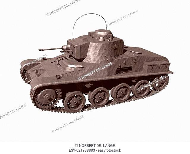Alter Weltkriegspanzer freigestellt