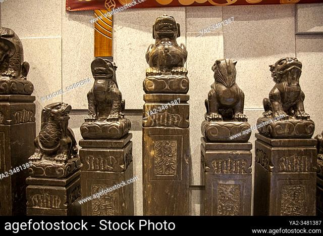 Chinese Stone Statues at Jinli Restaurant on Leicester Street, Chinatown - London UK