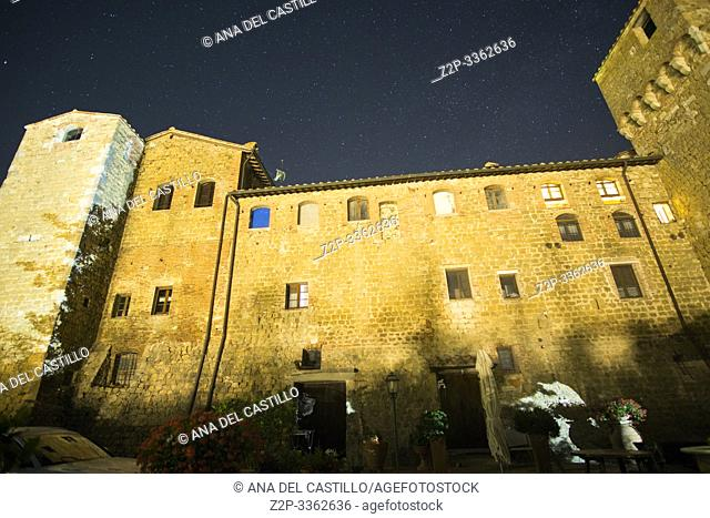 Pienza Tuscany Italy o July 2019 Agriturismo Castello di Spedaletto at night