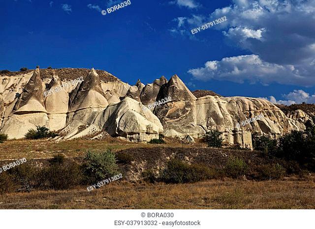 Formation of stone pillars in the desert