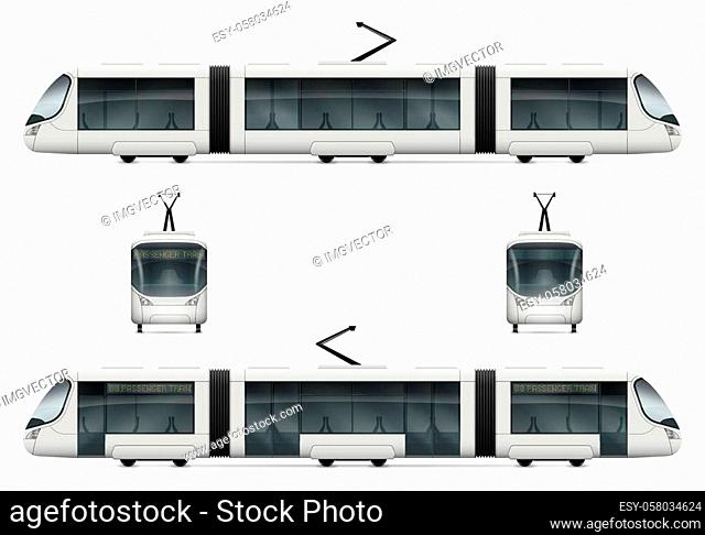 White city tram vector mock-up. Isolated railway transport set. Electric passenger train on white background. All layers and groups well organized for easy...