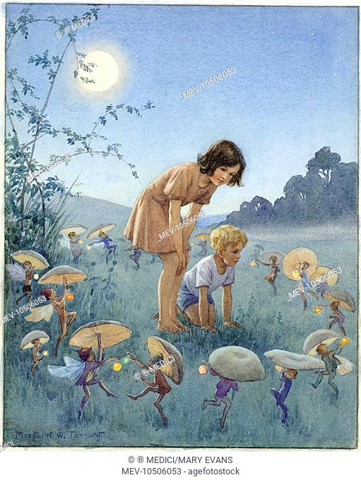 'Midsummer Night' - girl and boy inside circle of fairies holding toadstools