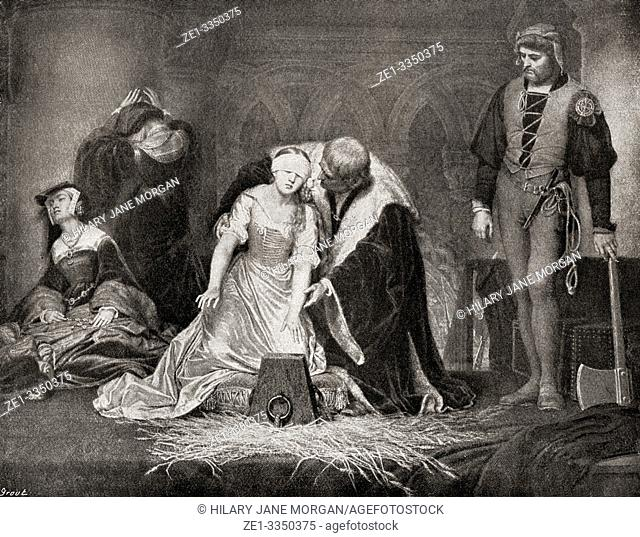 The execution of Lady Jane Grey, 1554. Lady Jane Grey c. â. ‰1537 -1554, aka Lady Jane Dudley or the Nine Days Queen. English noblewoman and de facto Queen of...