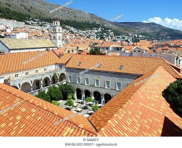 courtyard of the former monastery in the historic oldtown of Dubrovnik, Croatia, Dubrovnik