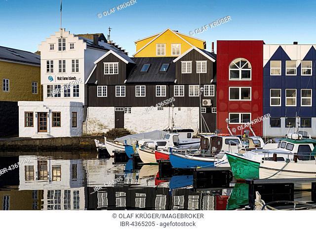 Colorful boats in the harbor, historic centre of Torshavn, Streymoy, Faroe Islands, Denmark