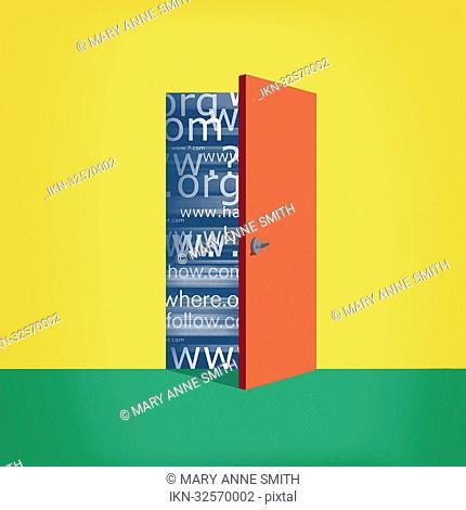 Ajar door with web addresses behind it