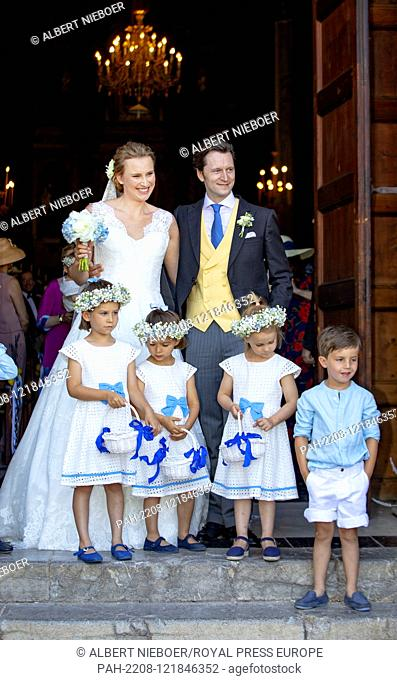 Joachim Albrecht Prince of Prussia.and Angelina Gr?fin zu Solms-Laubach.leave at the Esglesias de Montes-Son in Pollensa, on June 29, 2019, after their wedding