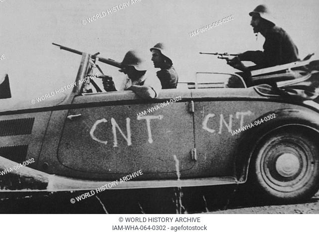 republican CNT volunteersman an improvised vehicle during the first months of the Spanish civil war 1937