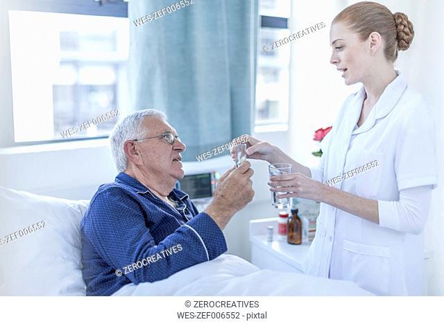 Hospital patient receiving medicine