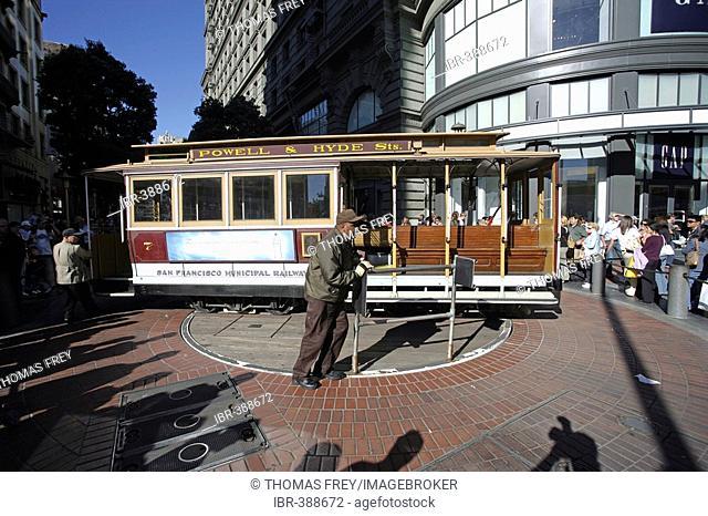 Cable car in San Francisco California, USA