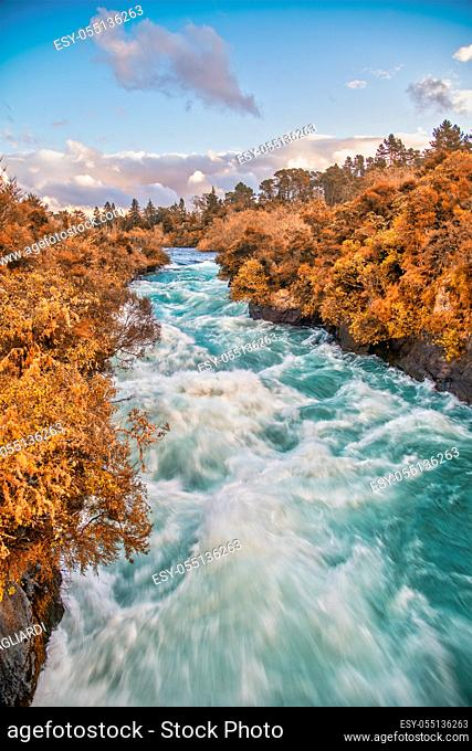 Powerful water currents in th Huka Falls, Taupo - New Zealand