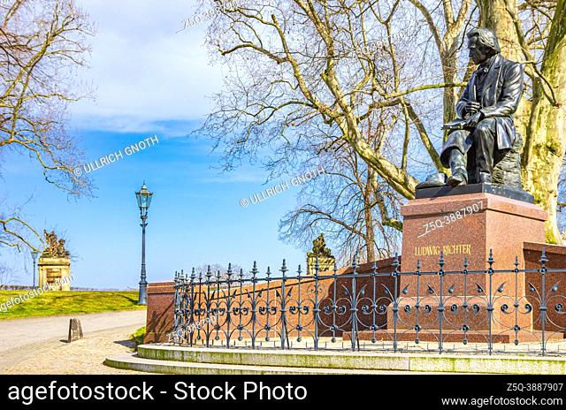 Dresden, Saxony, Germany: Memorial in honor of the painter Ludwig Richter on Brühl Terrace, reconstructed from the original by Eugen Kircheisen by sculptor...
