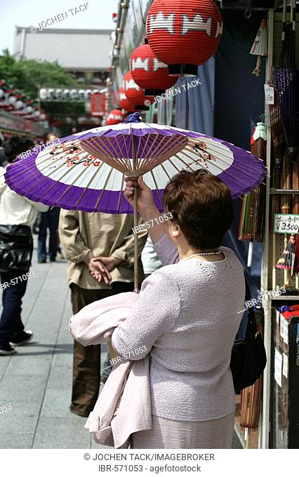 Japan, Tokyo: Shrine festival, called Matsuri. Asakusa Kannon Shrine Temple district. Nakamise alley. Many shops with religious souvenirs