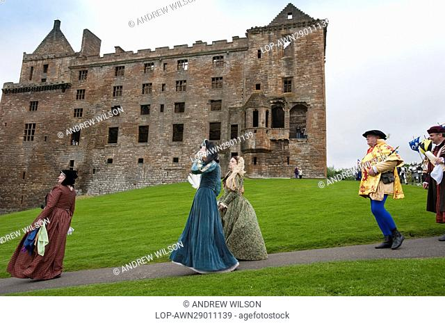 Scotland, West Lothian, Linlithgow. Costumed performers at a medieval re-enactment based around events at Scotland's royal court in 1503