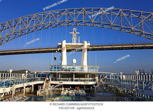 Cruise Ship under Bridge of the Americas, Panama Canal, Panama, Central America