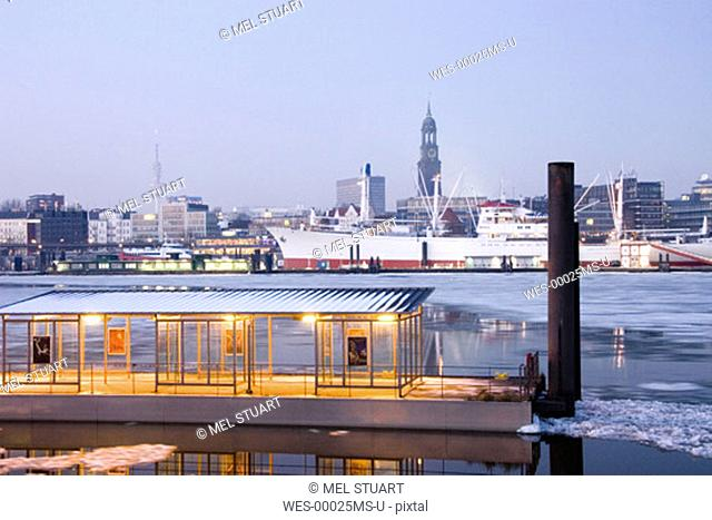 Germany, Hamburg, Elbe river with muesumship cap san diego and St. Michails church in backround