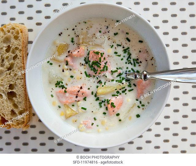 Wild salmon chowder with sweetcorn