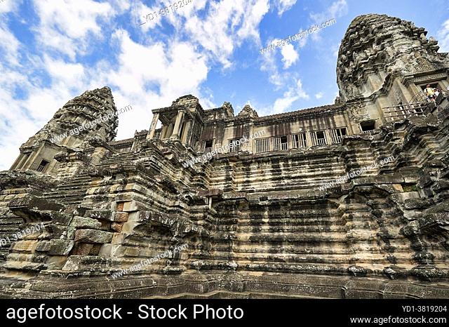 Khmer architecture at Angkor Wat Temple. Siem Reap. Cambodia