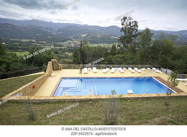 Beceña Asturias Spain on September 9, 2019 Cerro La Nina hotel resort in the mountains