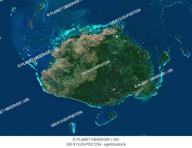 Satellite view of Viti Levu Island, Fiji. This is the largest island in the Republic of Fiji and the site of the nation's capital, Suva
