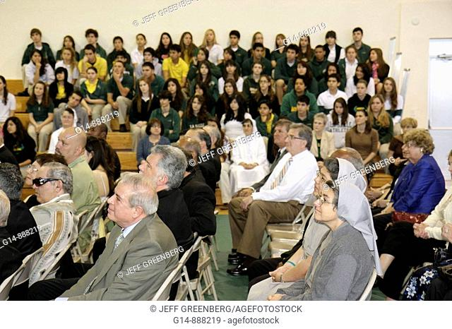 Florida, Miami, Coconut Grove, LaSalle Catholic High School, street naming ceremony, Most Reverend Augustin Roman Way, assembly, school gym, dignitaries