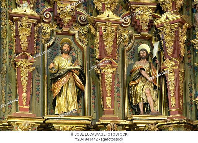 Church of San Sebastian-detail of the altarpiece, Higuera de la Sierra, Huelva-province, Spain