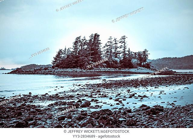 Magic Island at Halibut Point State Recreation Area near Sitka, Alaska, USA