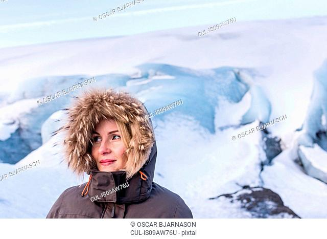 Woman in winter jacket, Solheimajokull, Iceland